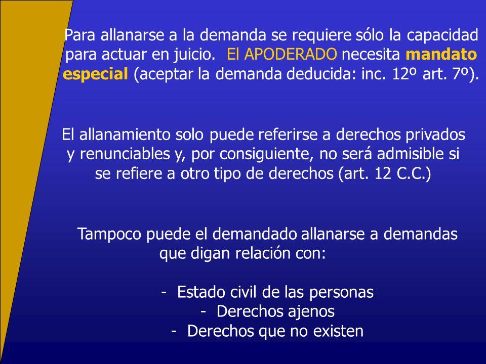 Para allanarse a la demanda se requiere sólo la capacidad para actuar en juicio. El APODERADO necesita mandato especial (aceptar la demanda deducida: