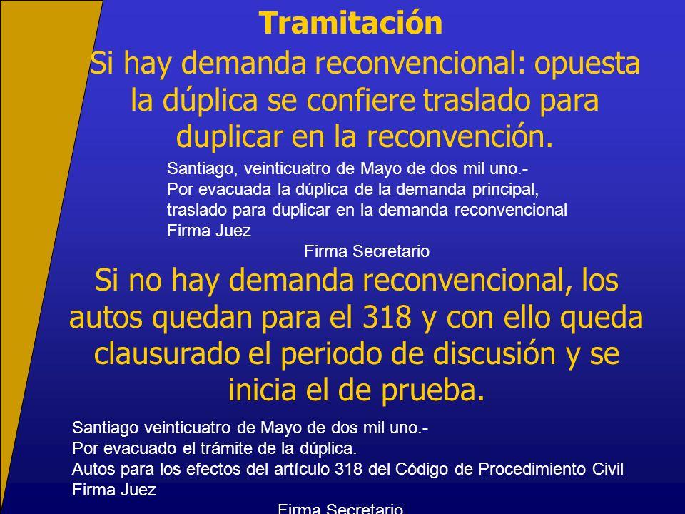 Tramitación Si hay demanda reconvencional: opuesta la dúplica se confiere traslado para duplicar en la reconvención. Si no hay demanda reconvencional,