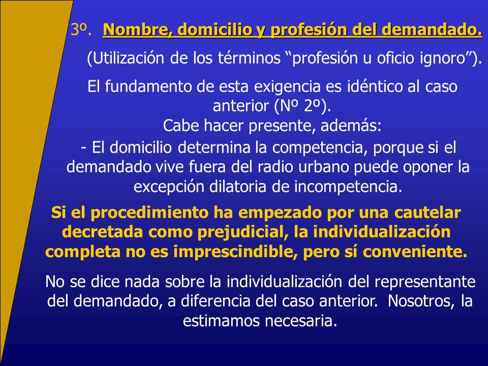 Nombre, domicilio y profesión del demandado. 3º. Nombre, domicilio y profesión del demandado. (Utilización de los términos profesión u oficio ignoro).