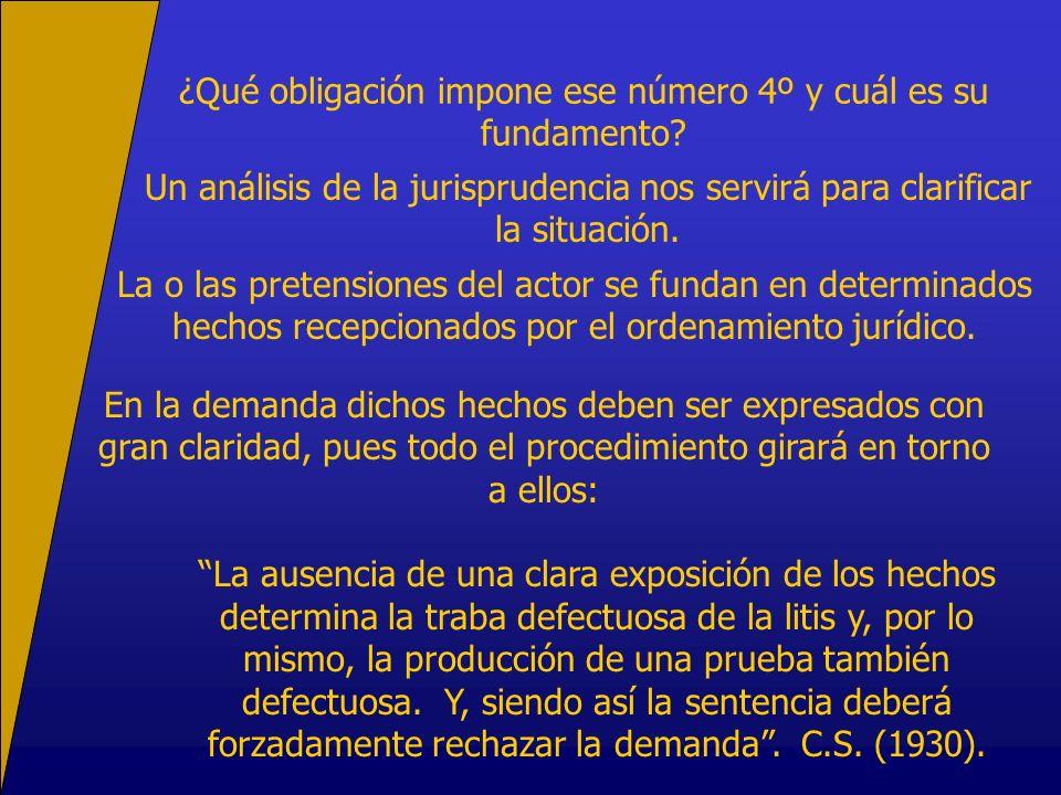 ¿Qué obligación impone ese número 4º y cuál es su fundamento? Un análisis de la jurisprudencia nos servirá para clarificar la situación. En la demanda
