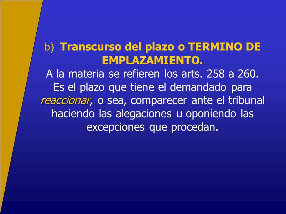 b) Transcurso del plazo o TERMINO DE EMPLAZAMIENTO. A la materia se refieren los arts. 258 a 260. reaccionar Es el plazo que tiene el demandado para r