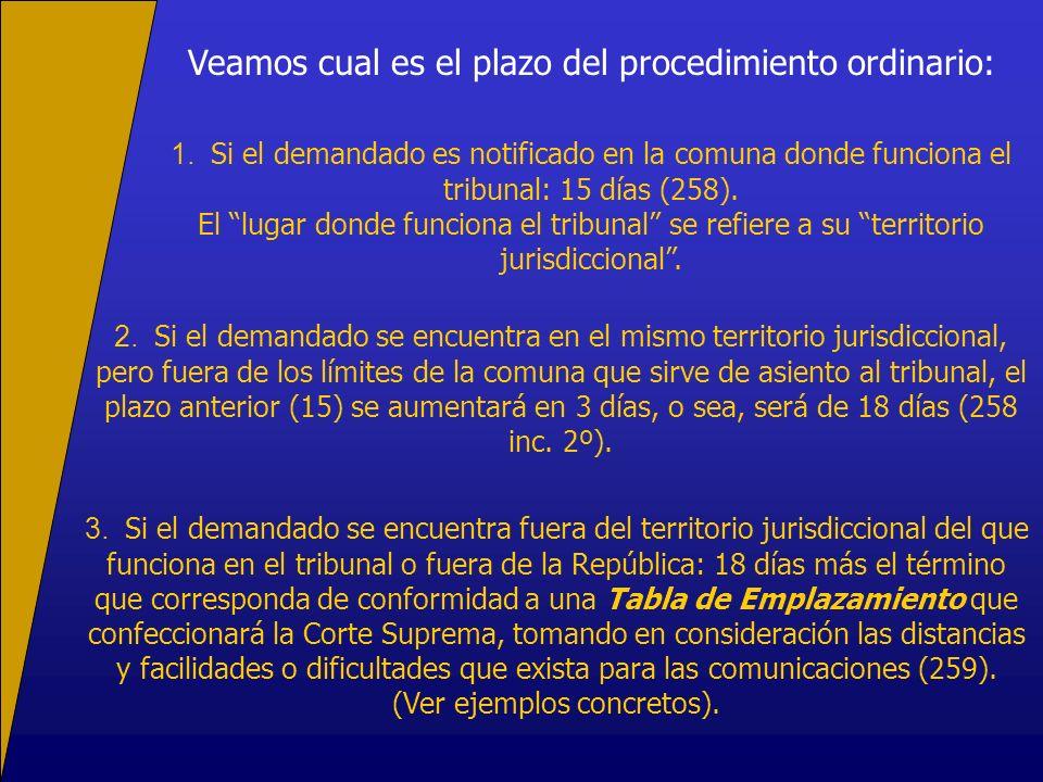 Veamos cual es el plazo del procedimiento ordinario: 1. Si el demandado es notificado en la comuna donde funciona el tribunal: 15 días (258). El lugar