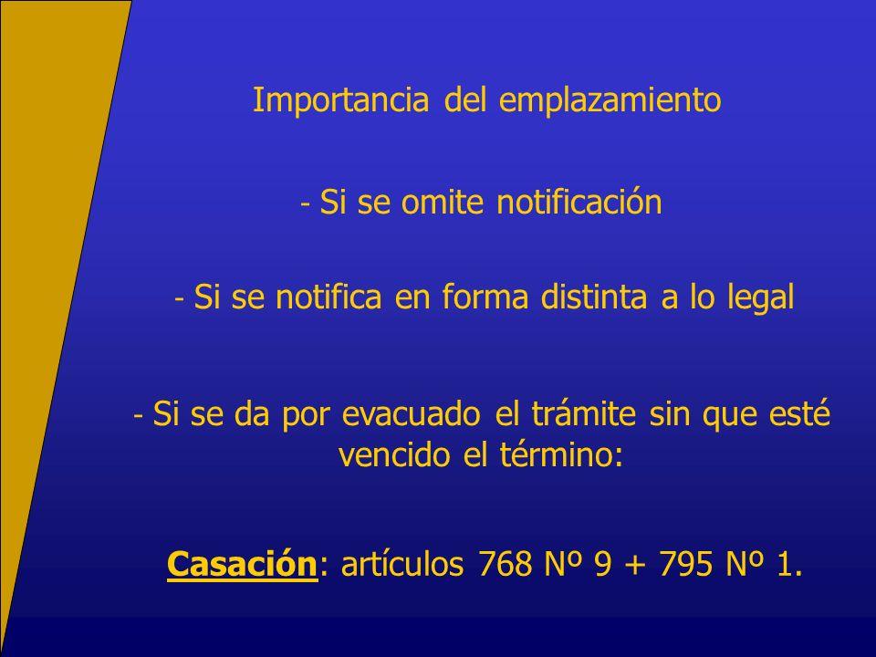 Importancia del emplazamiento - Si se omite notificación - Si se notifica en forma distinta a lo legal - Si se da por evacuado el trámite sin que esté