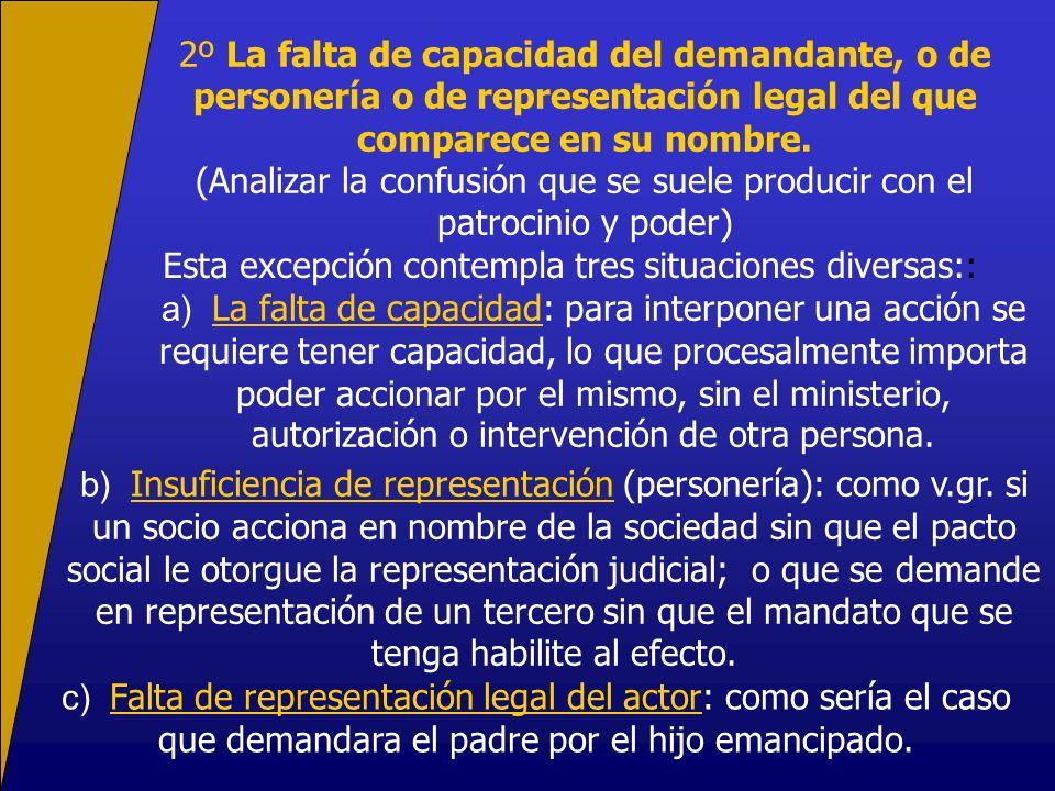 2º La falta de capacidad del demandante, o de personería o de representación legal del que comparece en su nombre. (Analizar la confusión que se suele