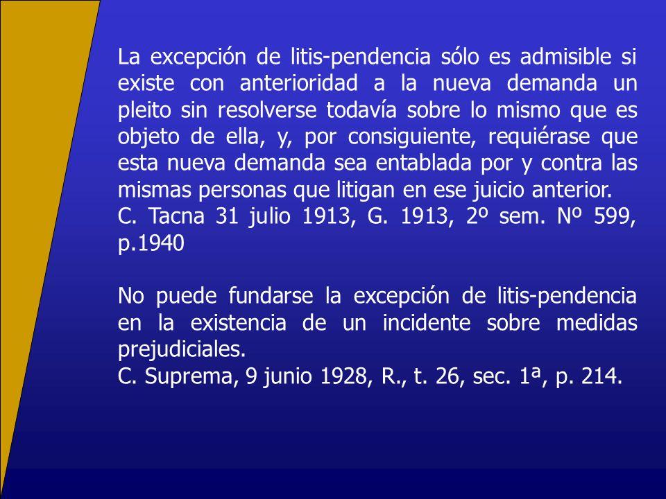 La excepción de litis-pendencia sólo es admisible si existe con anterioridad a la nueva demanda un pleito sin resolverse todavía sobre lo mismo que es
