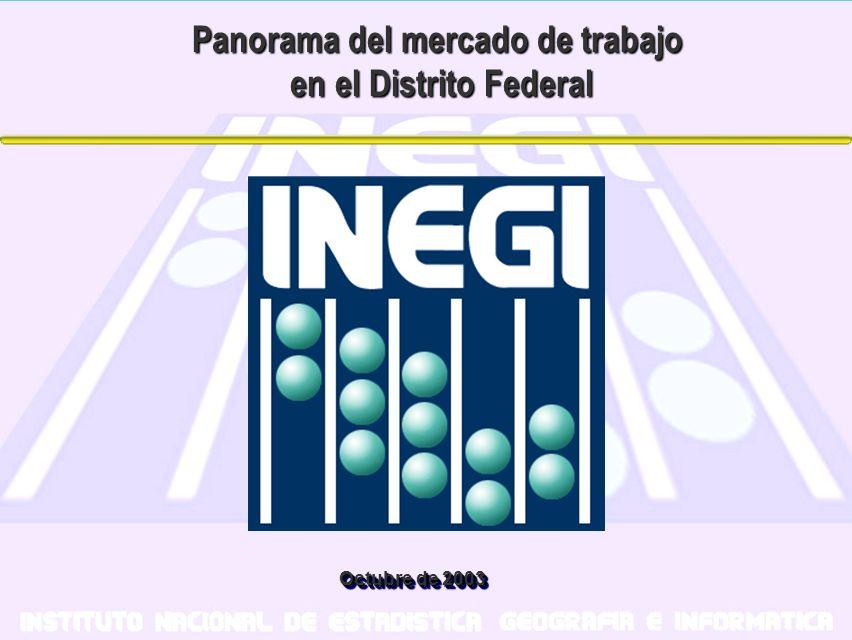 Octubre de 2003 Panorama del mercado de trabajo en el Distrito Federal en el Distrito Federal