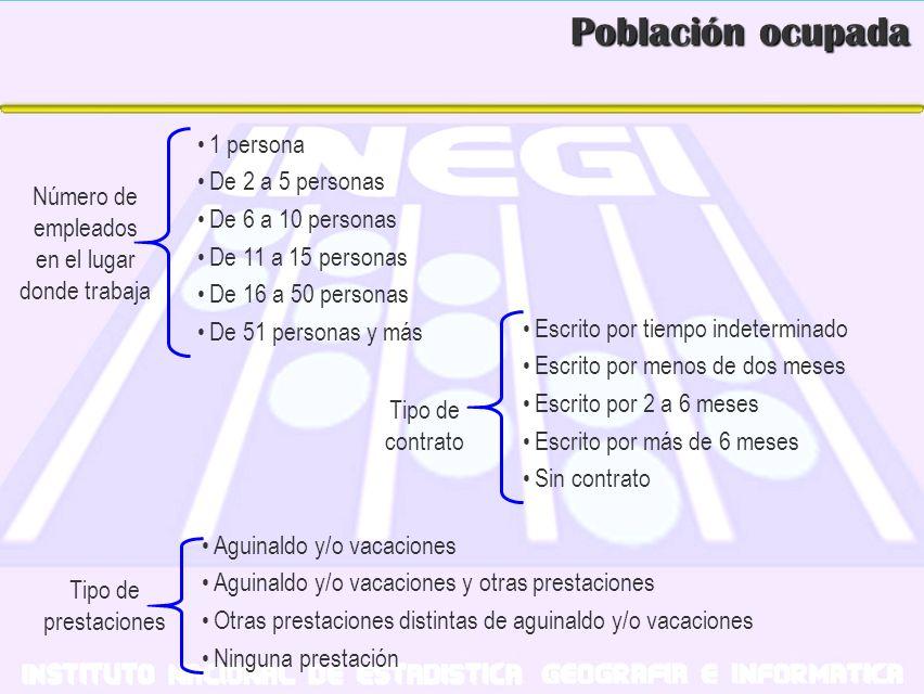 Población ocupada Número de empleados en el lugar donde trabaja 1 persona De 2 a 5 personas De 6 a 10 personas De 11 a 15 personas De 16 a 50 personas