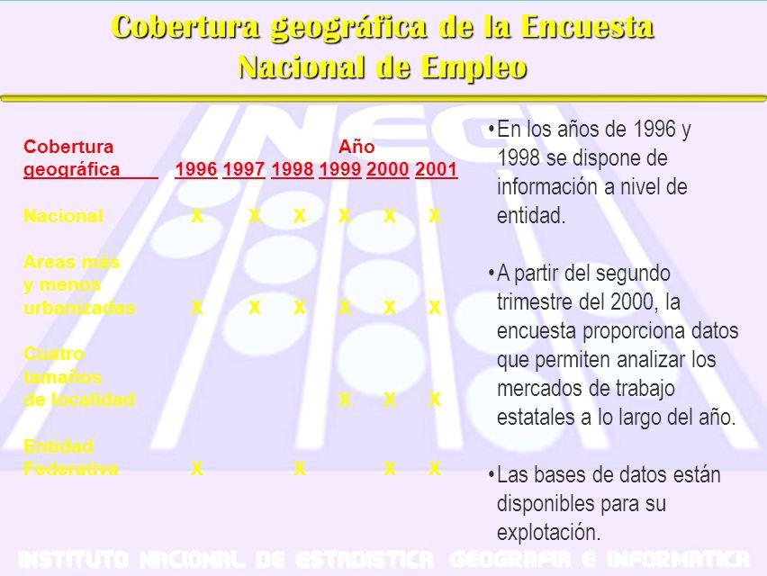 Cobertura geográfica de la Encuesta Nacional de Empleo En los años de 1996 y 1998 se dispone de información a nivel de entidad. A partir del segundo t