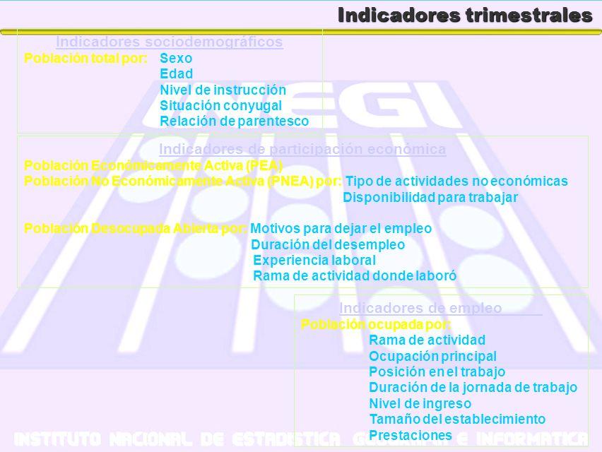 Indicadores trimestrales Indicadores sociodemográficos Población total por: Sexo Edad Nivel de instrucción Situación conyugal Relación de parentesco I