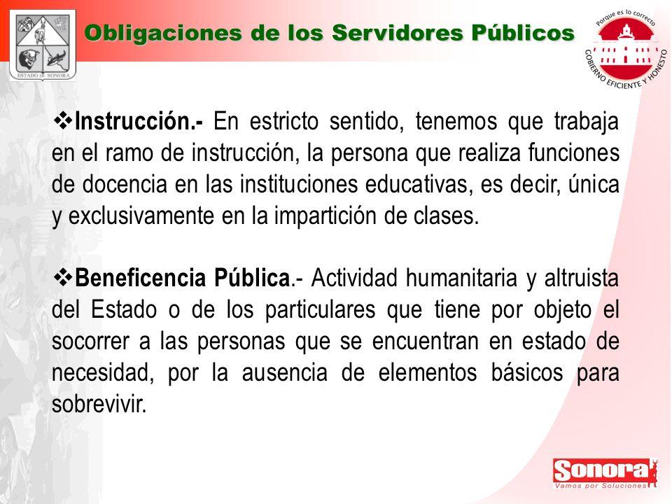 Instrucción.- En estricto sentido, tenemos que trabaja en el ramo de instrucción, la persona que realiza funciones de docencia en las instituciones ed