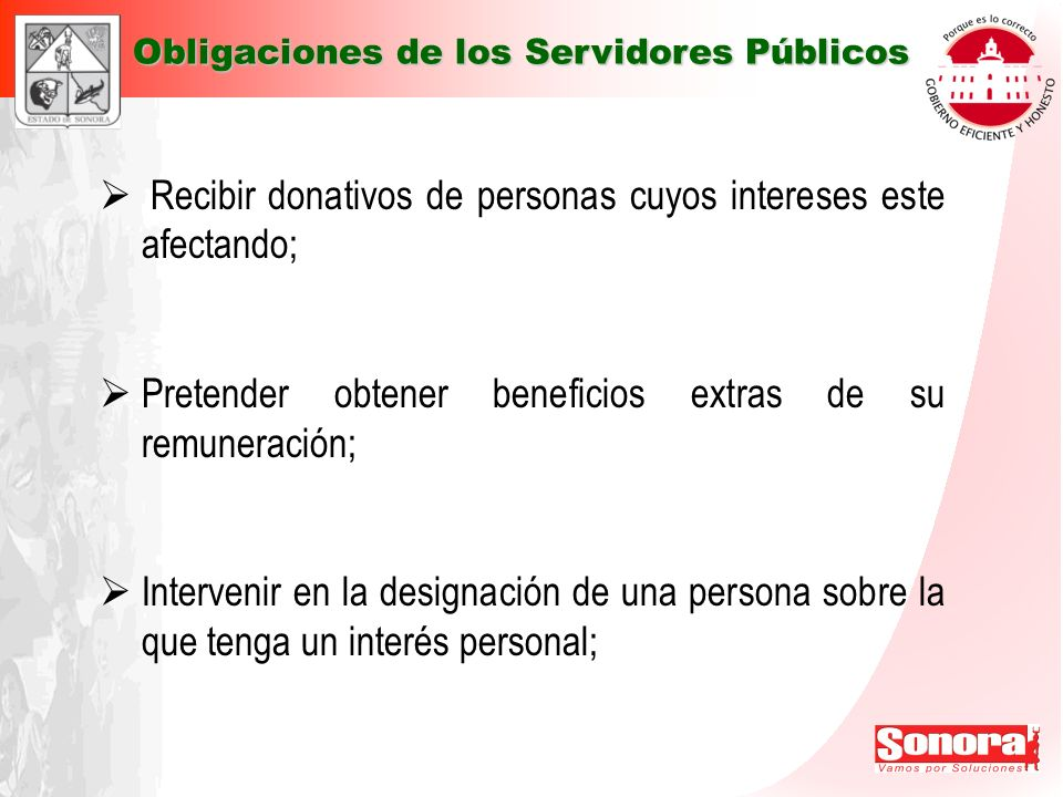 Recibir donativos de personas cuyos intereses este afectando; Pretender obtener beneficios extras de su remuneración; Intervenir en la designación de