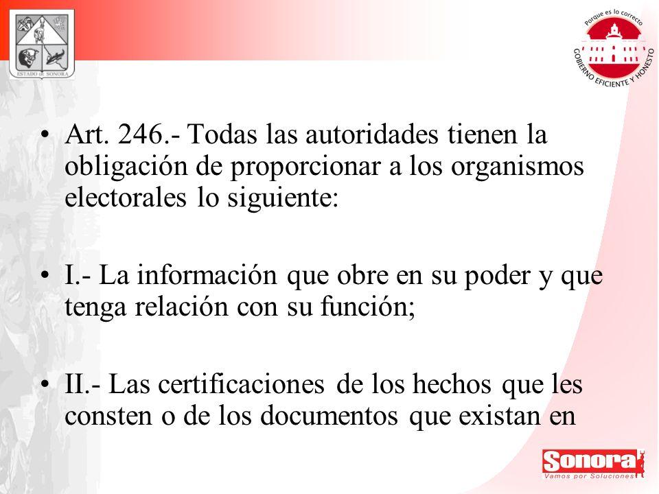Art. 246.- Todas las autoridades tienen la obligación de proporcionar a los organismos electorales lo siguiente: I.- La información que obre en su pod