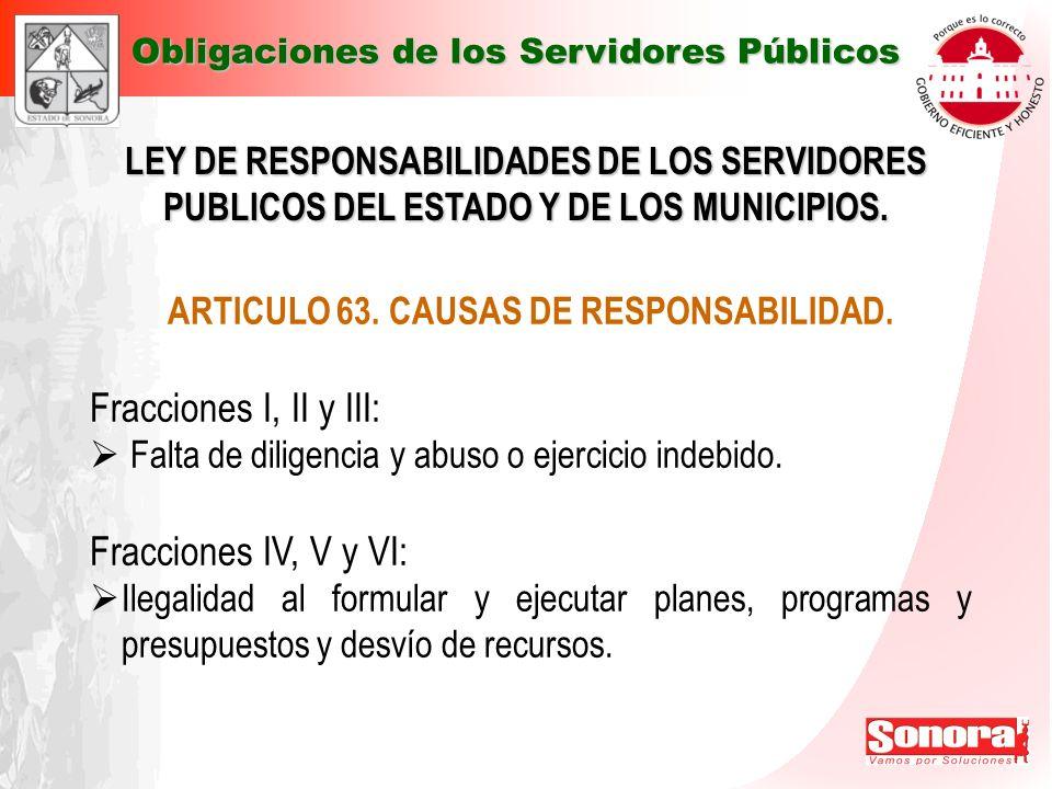 LEY DE RESPONSABILIDADES DE LOS SERVIDORES PUBLICOS DEL ESTADO Y DE LOS MUNICIPIOS. ARTICULO 63. CAUSAS DE RESPONSABILIDAD. Fracciones I, II y III: Fa