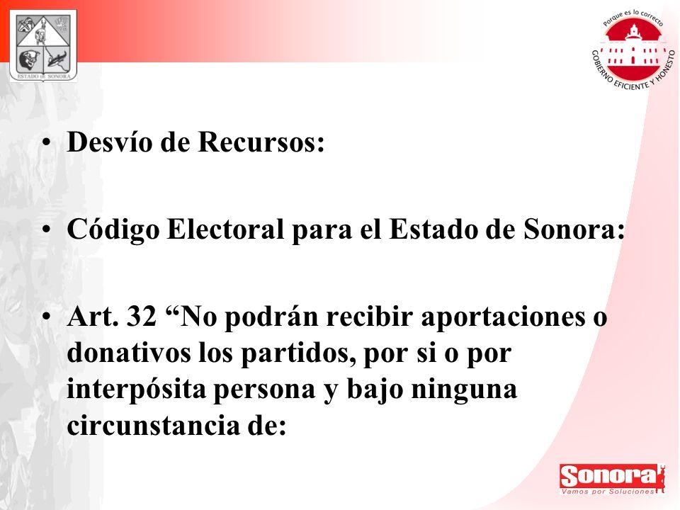 Desvío de Recursos: Código Electoral para el Estado de Sonora: Art. 32 No podrán recibir aportaciones o donativos los partidos, por si o por interpósi