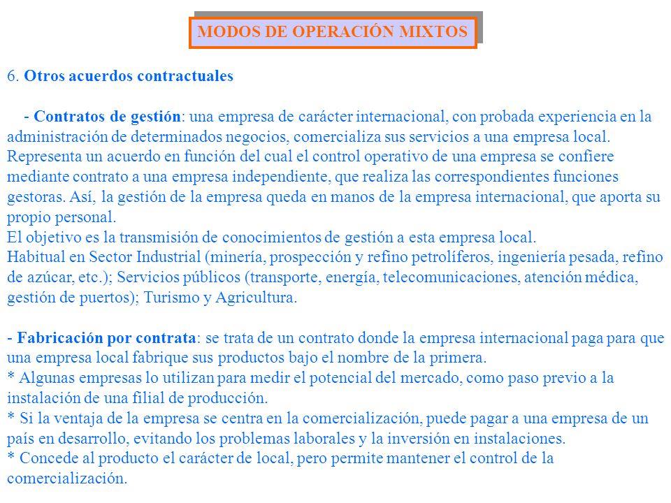 6. Otros acuerdos contractuales - Contratos de gestión: una empresa de carácter internacional, con probada experiencia en la administración de determi