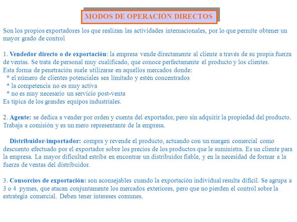 MODOS DE OPERACIÓN DIRECTOS Son los propios exportadores los que realizan las actividades internacionales, por lo que permite obtener un mayor grado d