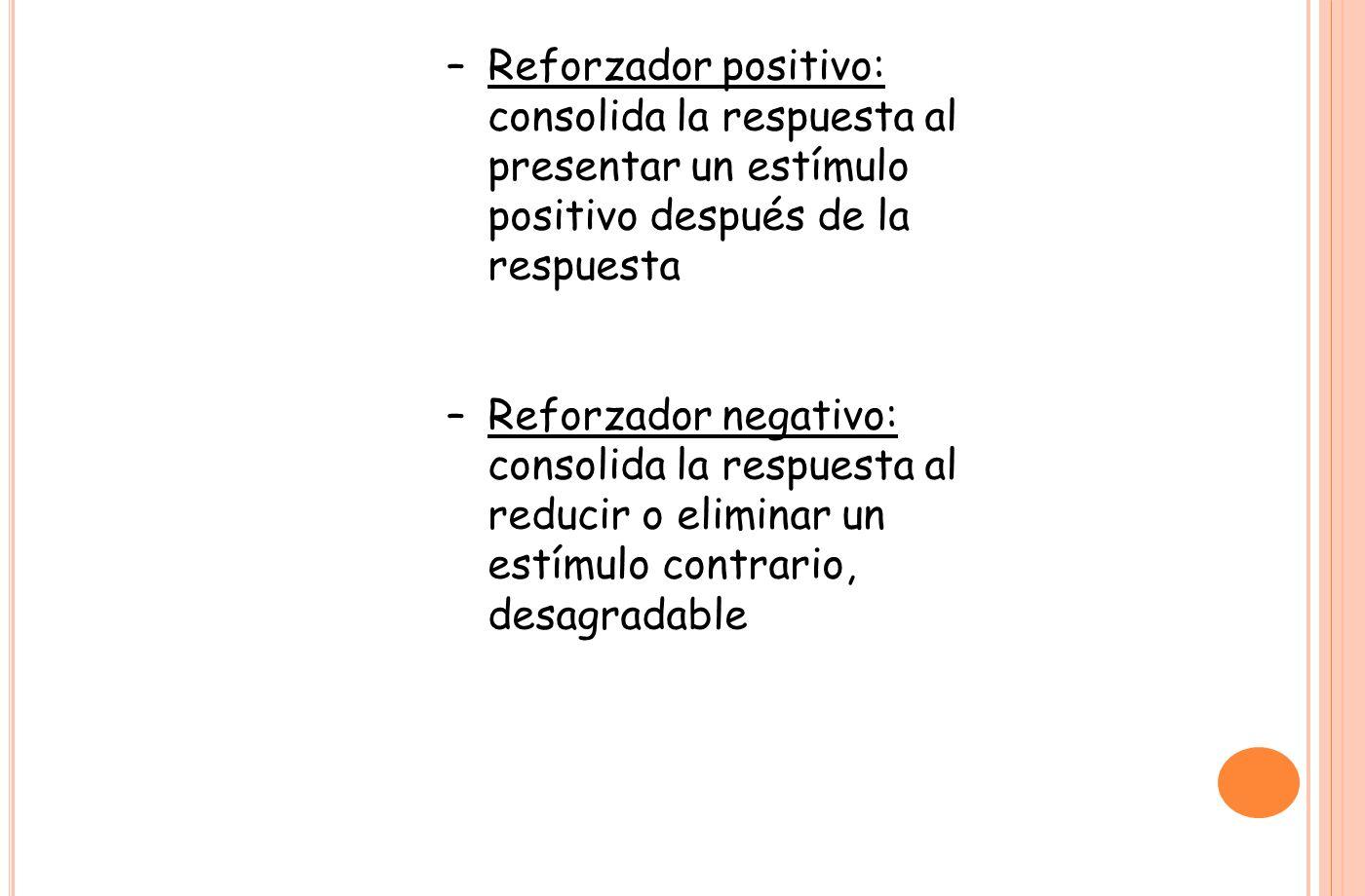 –Reforzador positivo: consolida la respuesta al presentar un estímulo positivo después de la respuesta –Reforzador negativo: consolida la respuesta al