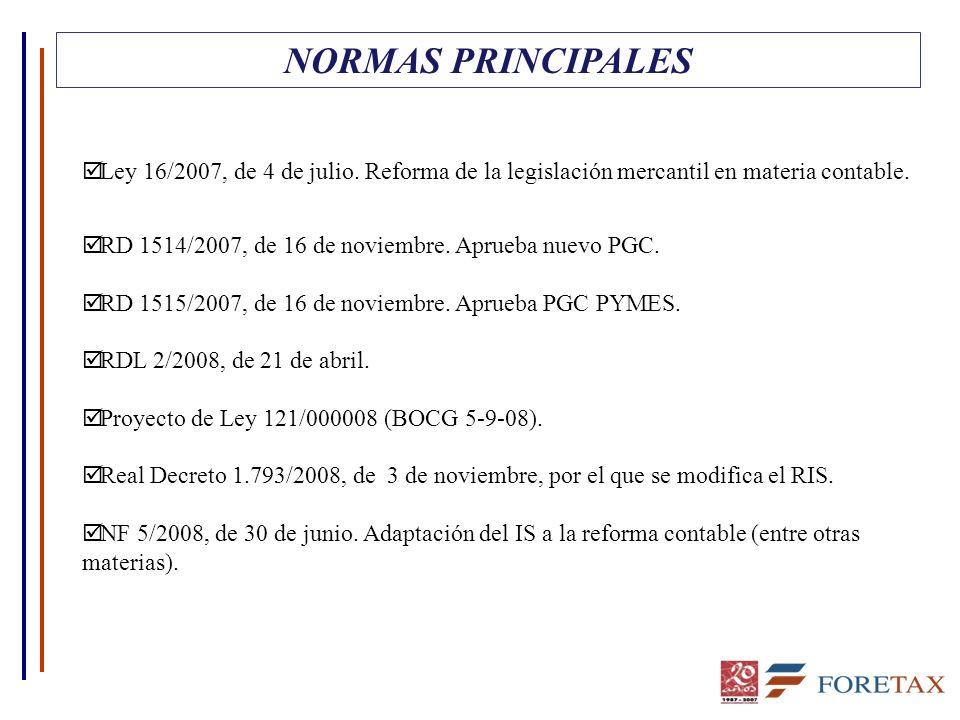 NORMAS PRINCIPALES þ Ley 16/2007, de 4 de julio. Reforma de la legislación mercantil en materia contable. þ RD 1514/2007, de 16 de noviembre. Aprueba