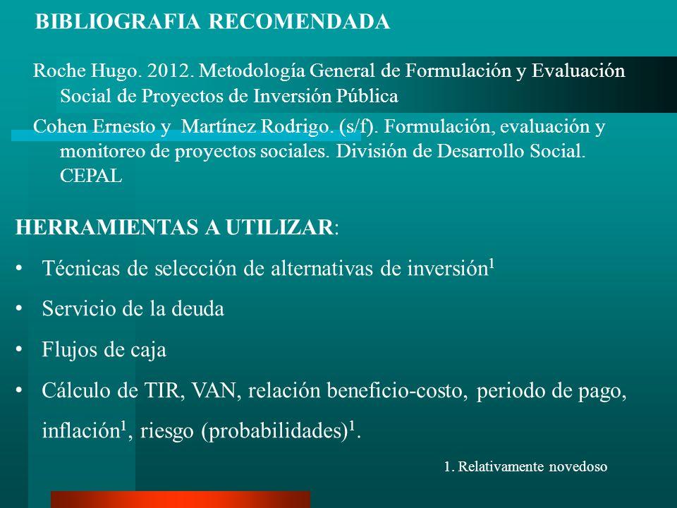 Roche Hugo. 2012. Metodología General de Formulación y Evaluación Social de Proyectos de Inversión Pública Cohen Ernesto y Martínez Rodrigo. (s/f). Fo