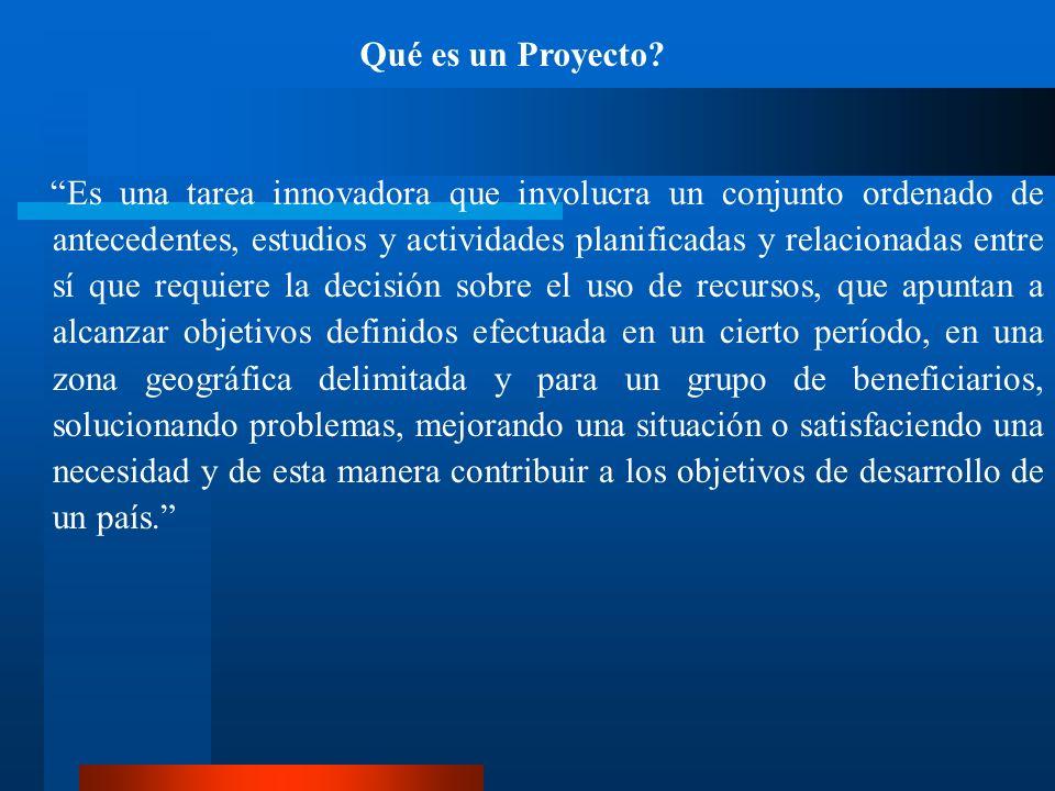 Qué es un Proyecto? Es una tarea innovadora que involucra un conjunto ordenado de antecedentes, estudios y actividades planificadas y relacionadas ent