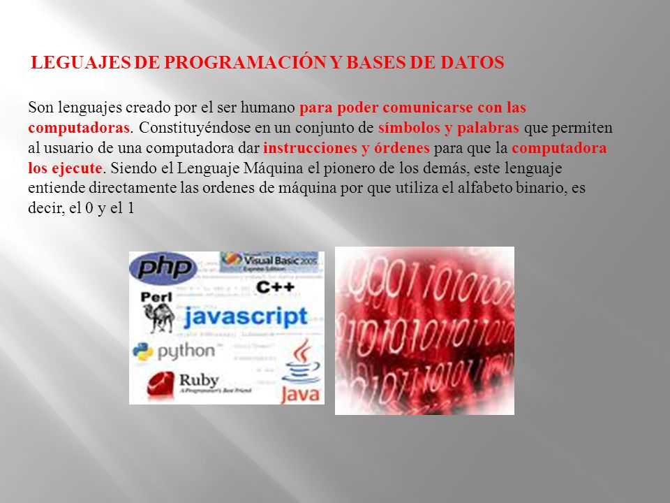 LEGUAJES DE PROGRAMACIÓN Y BASES DE DATOS Son lenguajes creado por el ser humano para poder comunicarse con las computadoras. Constituyéndose en un co