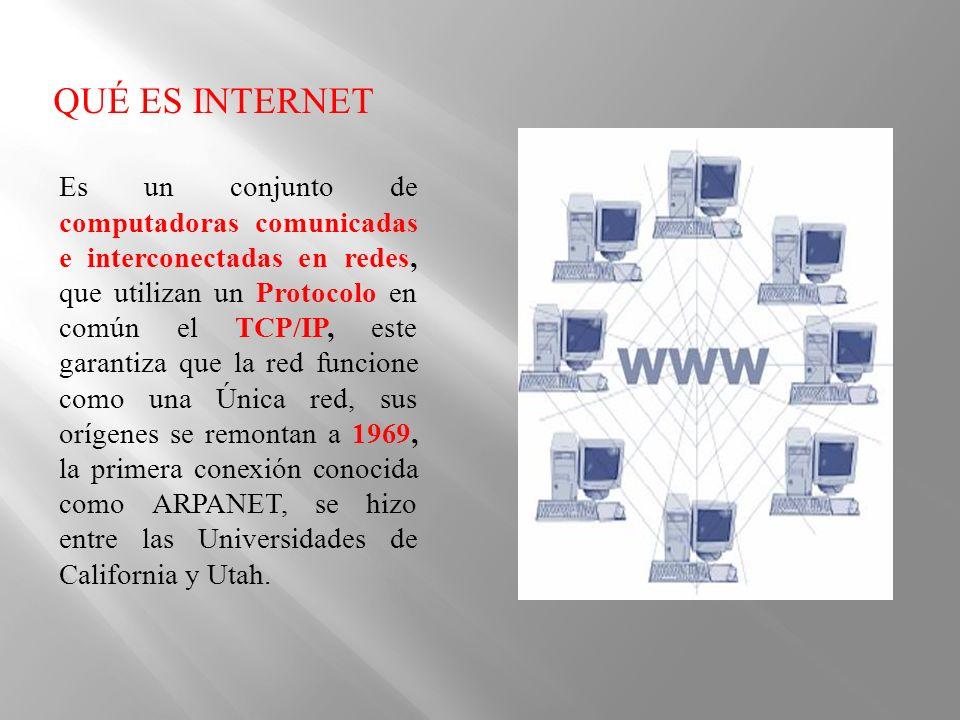 Es un conjunto de computadoras comunicadas e interconectadas en redes, que utilizan un Protocolo en común el TCP/IP, este garantiza que la red funcion