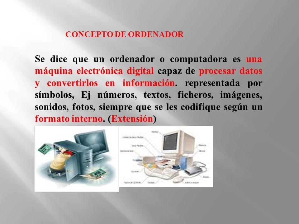 Se dice que un ordenador o computadora es una máquina electrónica digital capaz de procesar datos y convertirlos en información. representada por símb