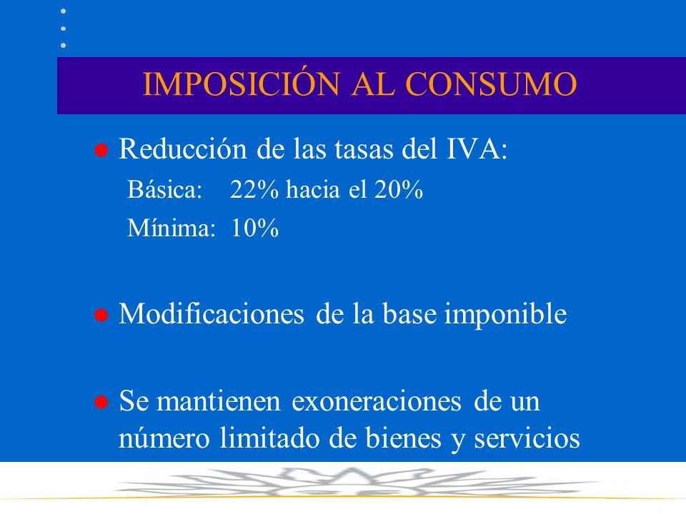 IMPOSICIÓN AL CONSUMO l Reducción de las tasas del IVA: Básica: 22% hacia el 20% Mínima:10% l Modificaciones de la base imponible l Se mantienen exoneraciones de un número limitado de bienes y servicios