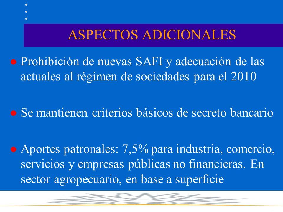 ASPECTOS ADICIONALES l Prohibición de nuevas SAFI y adecuación de las actuales al régimen de sociedades para el 2010 l Se mantienen criterios básicos de secreto bancario l Aportes patronales: 7,5% para industria, comercio, servicios y empresas públicas no financieras.