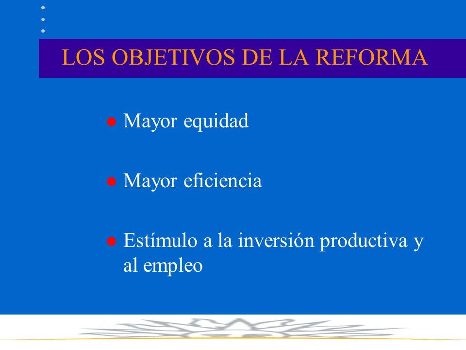 LOS OBJETIVOS DE LA REFORMA l Mayor equidad l Mayor eficiencia l Estímulo a la inversión productiva y al empleo
