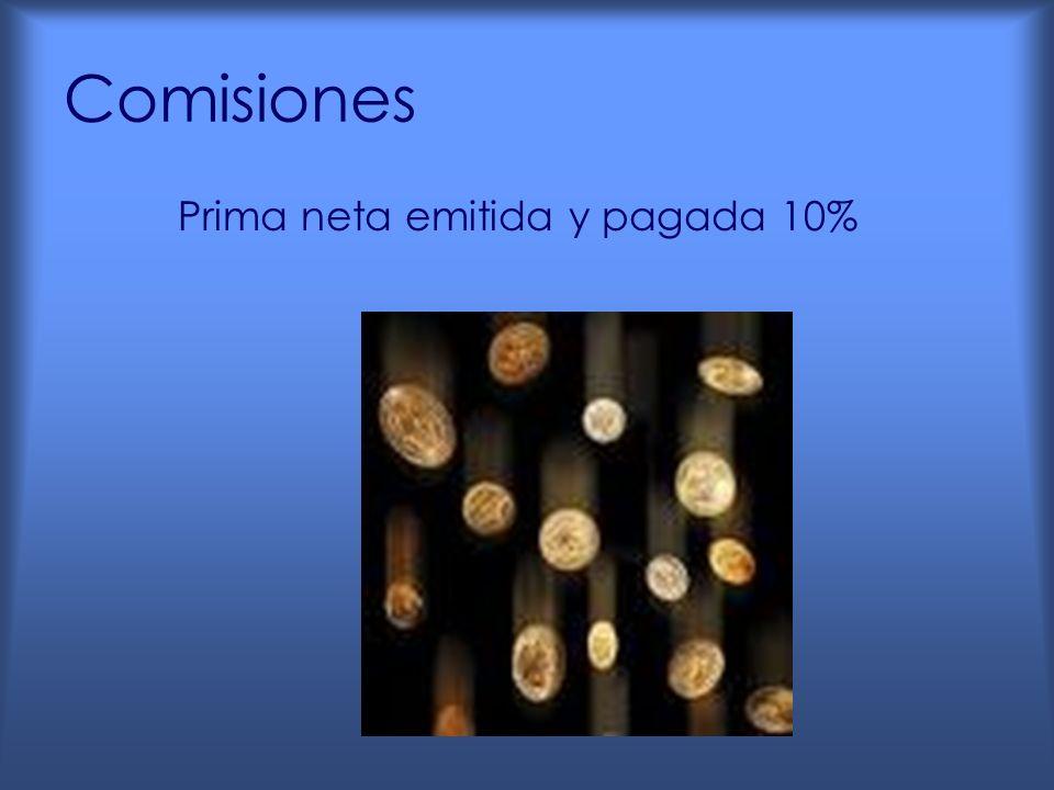 Comisiones Prima neta emitida y pagada 10%