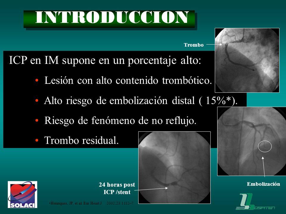 INTRODUCCION ICP en IM supone en un porcentaje alto: Lesión con alto contenido trombótico. Alto riesgo de embolización distal ( 15%*). Riesgo de fenóm