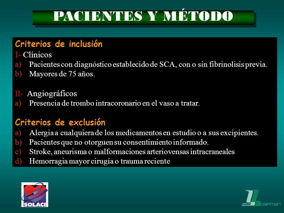 Criterios de inclusión I- Clínicos a)Pacientes con diagnóstico establecido de SCA, con o sin fibrinolisis previa. b)Mayores de 75 años. II- Angiográfi
