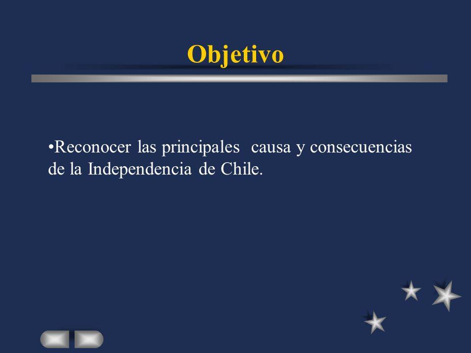 Objetivo Reconocer las principales causa y consecuencias de la Independencia de Chile.