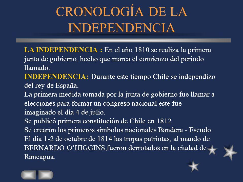 CRONOLOGÍA DE LA INDEPENDENCIA LA INDEPENDENCIA : En el año 1810 se realiza la primera junta de gobierno, hecho que marca el comienzo del periodo llam