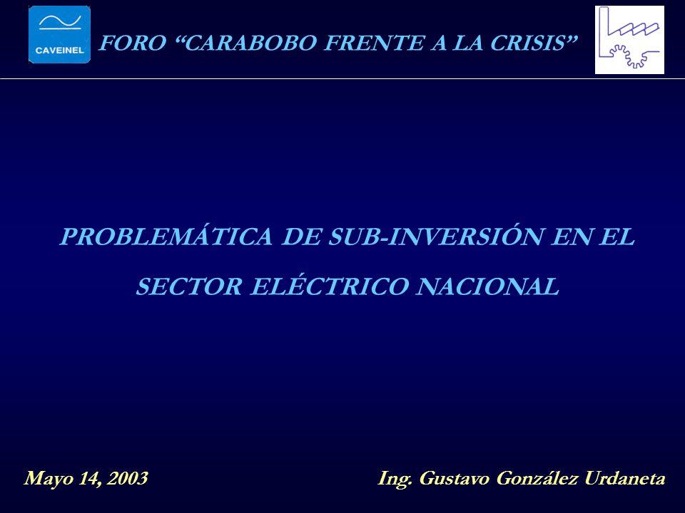 FORO CARABOBO FRENTE A LA CRISIS PROBLEMÁTICA DE SUB-INVERSIÓN EN EL SECTOR ELÉCTRICO NACIONAL Mayo 14, 2003Ing. Gustavo González Urdaneta