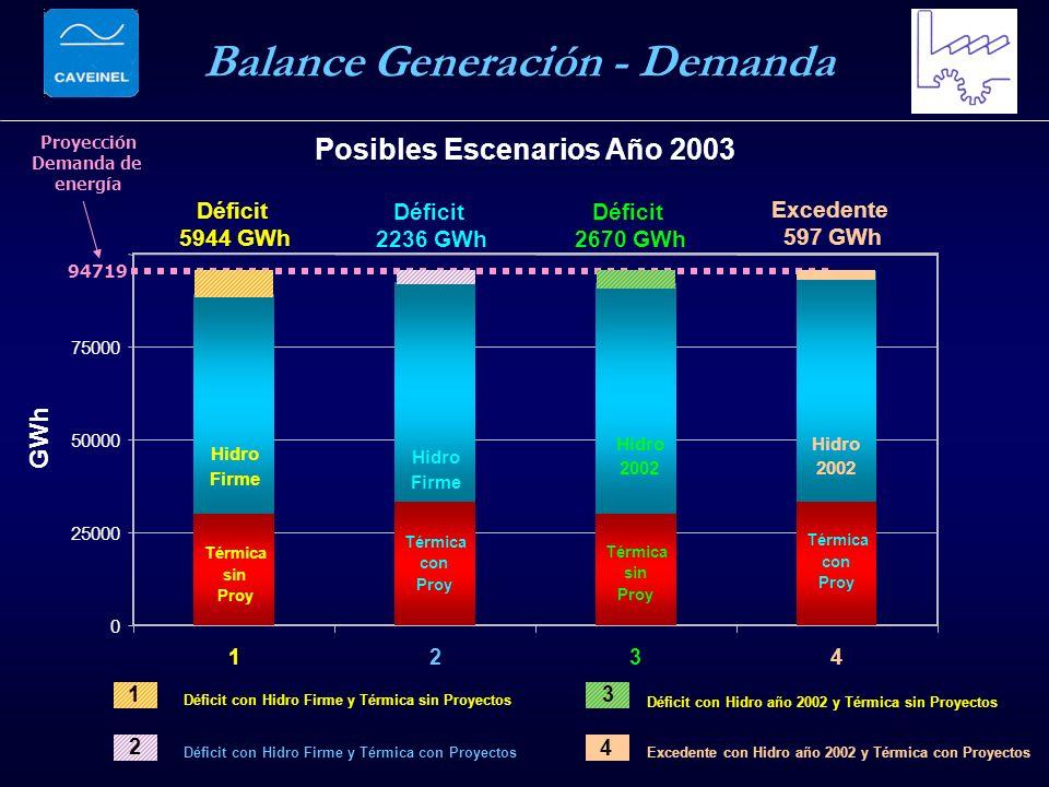 0 25000 50000 75000 1234 Posibles Escenarios Año 2003 GWh Déficit 2236 GWh Excedente 597 GWh Déficit 5944 GWh Déficit 2670 GWh Térmica sin Proy Proyec