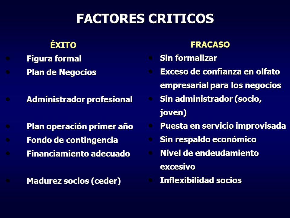 FACTORES CRITICOS ÉXITO ÉXITO Figura formal Figura formal Plan de Negocios Plan de Negocios Administrador profesional Administrador profesional Plan o