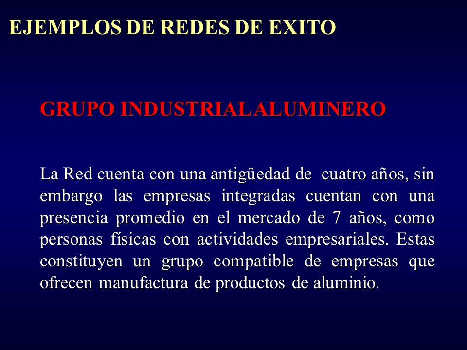 GRUPO INDUSTRIAL ALUMINERO La Red cuenta con una antigüedad de cuatro años, sin embargo las empresas integradas cuentan con una presencia promedio en el mercado de 7 años, como personas físicas con actividades empresariales.