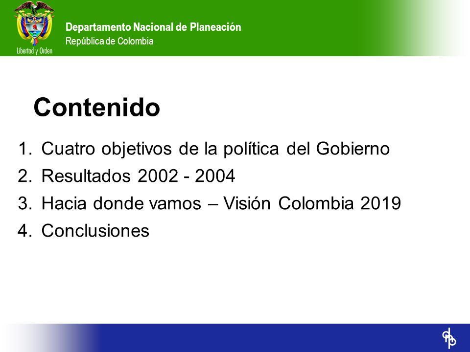Departamento Nacional de Planeación República de Colombia Contenido 1.Cuatro objetivos de la política del Gobierno 2.Resultados 2002 - 2004 A.Seguridad democrática B.Recuperación del crecimiento y generación de empleo C.Reactivación social D.Renovación del Estado 3.Hacia donde vamos – Visión Colombia 2019 4.Conclusiones