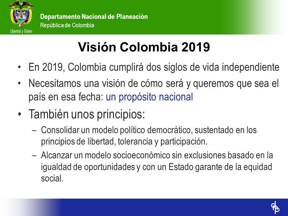 Departamento Nacional de Planeación República de Colombia Visión Colombia 2019 En 2019, Colombia cumplirá dos siglos de vida independiente Necesitamos