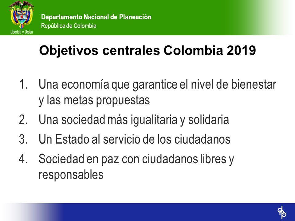 Departamento Nacional de Planeación República de Colombia Objetivos centrales Colombia 2019 1.Una economía que garantice el nivel de bienestar y las m