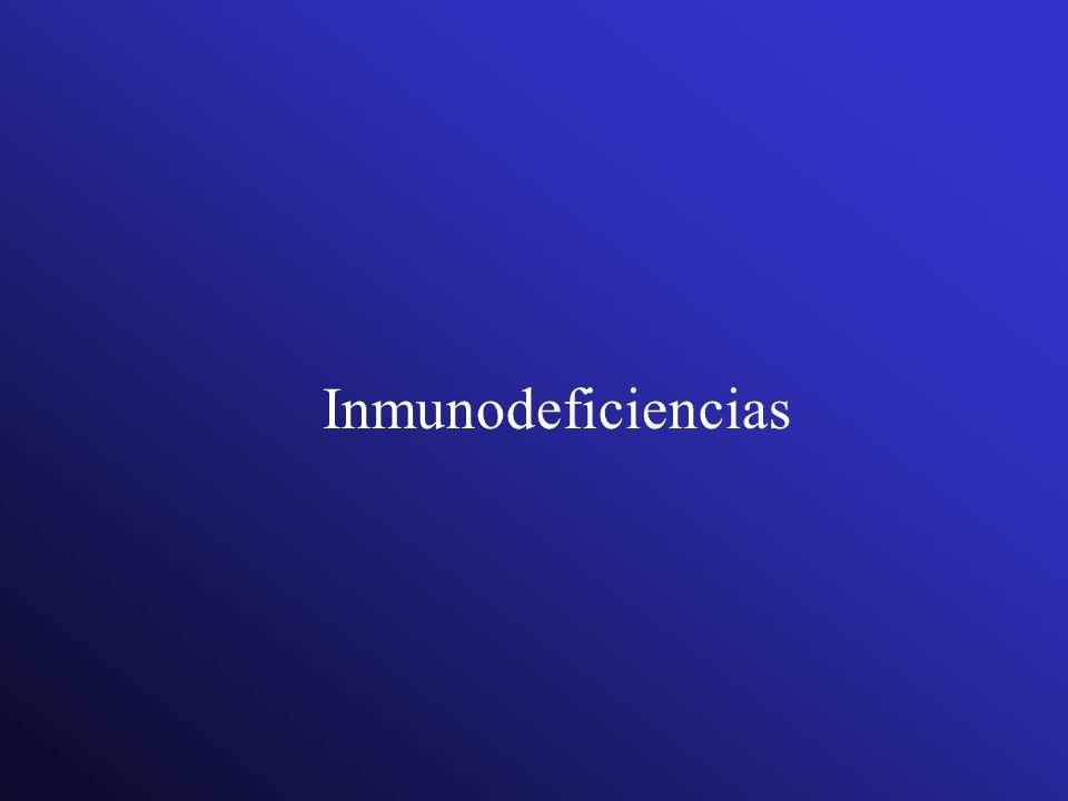 Inmunodeficiencias primarias Más de 8 infecciones al oído al año 2 o más infecciones sinusales graves al año 2 o más meses con tratamiento Ab sin mayores efectos 2 o más pneumonias en un año Deficiencia en un niño para aumentar de peso o crecer normalmente