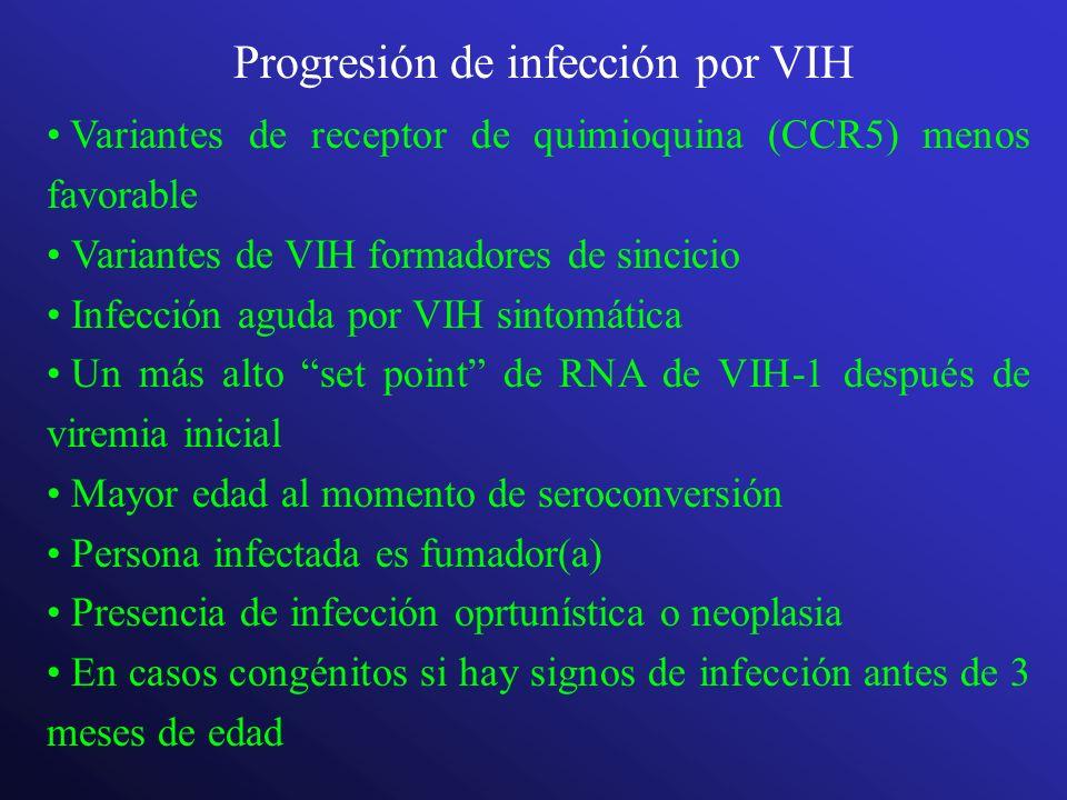 Progresión de infección por VIH Variantes de receptor de quimioquina (CCR5) menos favorable Variantes de VIH formadores de sincicio Infección aguda po