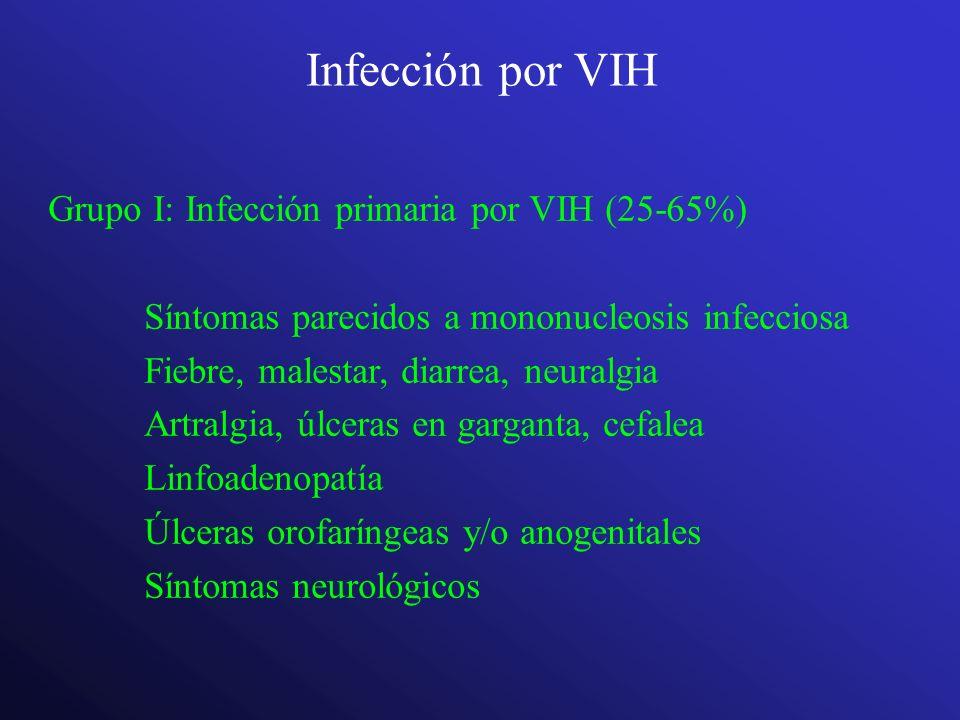Infección por VIH Grupo I: Infección primaria por VIH (25-65%) Síntomas parecidos a mononucleosis infecciosa Fiebre, malestar, diarrea, neuralgia Artr