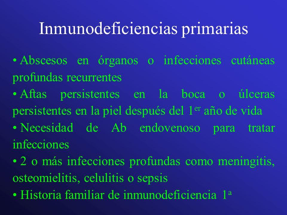 Inmunodeficiencias primarias Abscesos en órganos o infecciones cutáneas profundas recurrentes Aftas persistentes en la boca o úlceras persistentes en