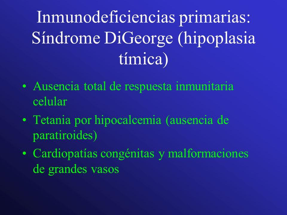 Inmunodeficiencias primarias: Síndrome DiGeorge (hipoplasia tímica) Ausencia total de respuesta inmunitaria celular Tetania por hipocalcemia (ausencia