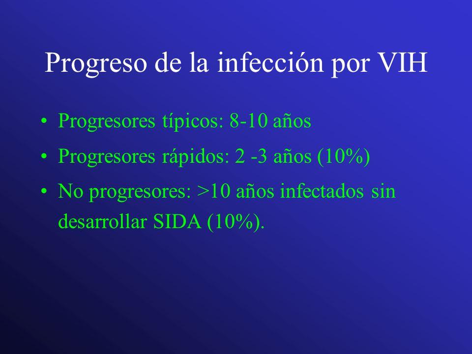 Progreso de la infección por VIH Progresores típicos: 8-10 años Progresores rápidos: 2 -3 años (10%) No progresores: >10 años infectados sin desarroll