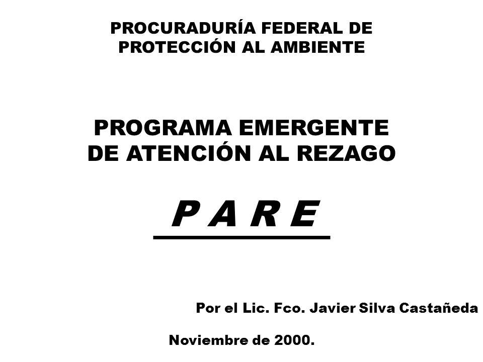 PROCURADURÍA FEDERAL DE PROTECCIÓN AL AMBIENTE PROGRAMA EMERGENTE DE ATENCIÓN AL REZAGO P A R E Por el Lic.