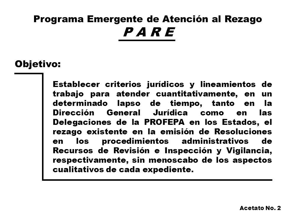 Programa Emergente de Atención al Rezago P A R E Virtudes del Programa: Homologación de criterios entre las Delegaciones y estas con la Dirección General Jurídica en la elaboración de Resoluciones Administrativas.